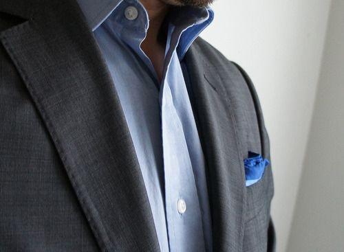 Shades of blue & dark grey coat