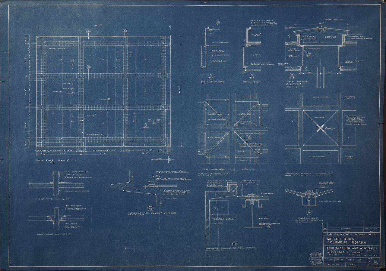 Blueprint (29 x 41 in.) of Sheet Number A-5, Miller House ... on