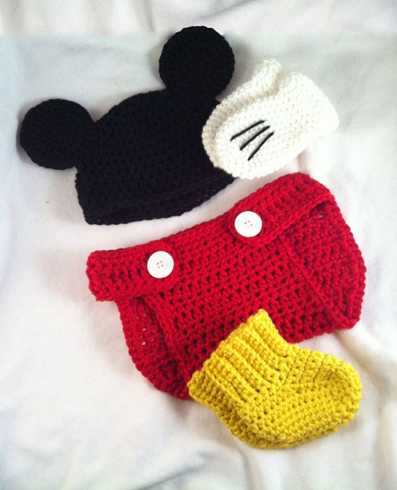 a8a52d63f2a Crochet Mickey Mouse inspired hat diaper cover by LaurelAndHoney ...