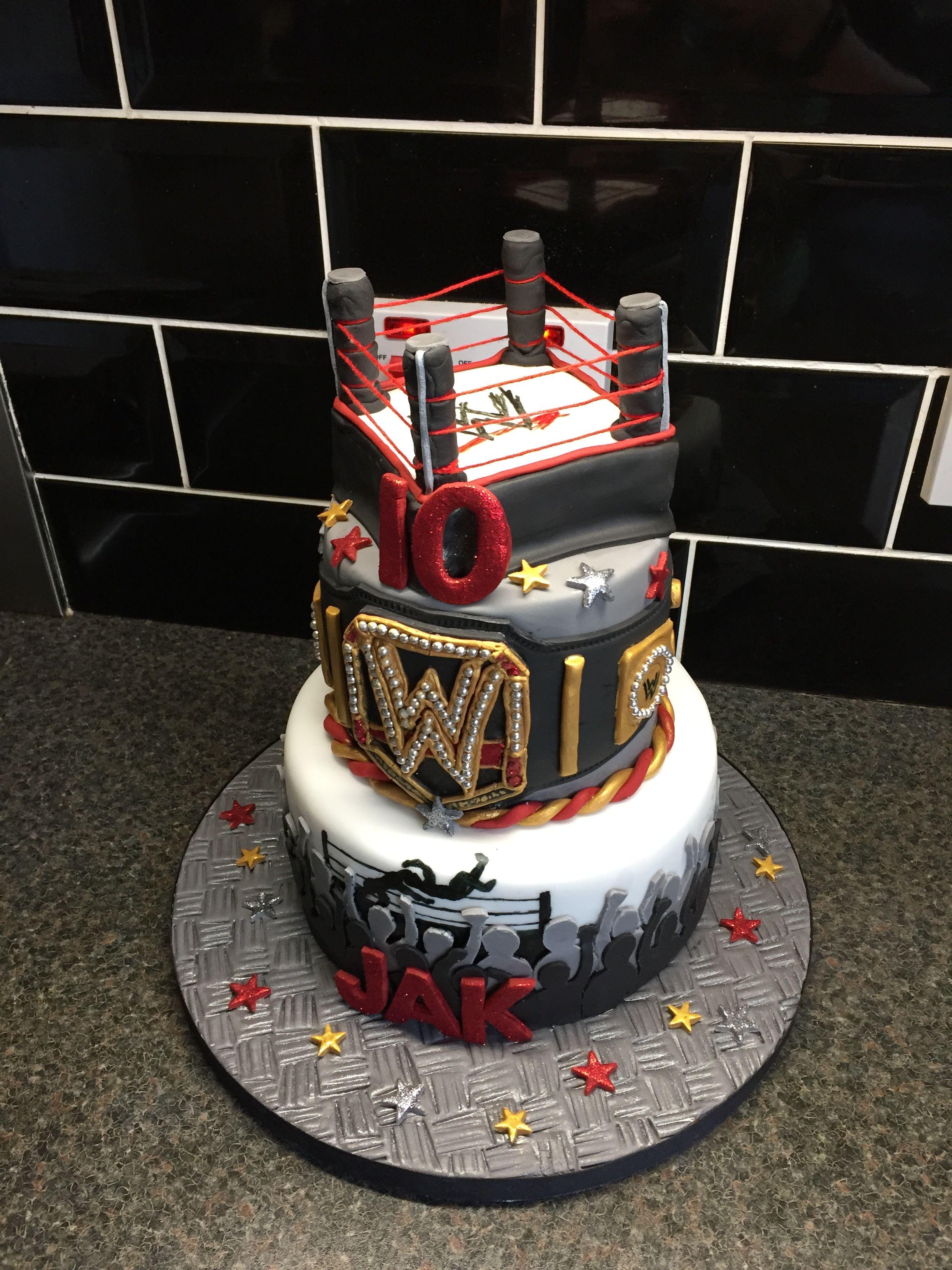 WWE birthday cake, randy orton, rko, wrestler, wrestling, ring, belt ...