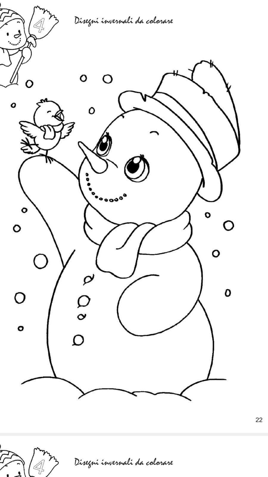 Snowman And Bird Winter Coloring Page With Images Snowman