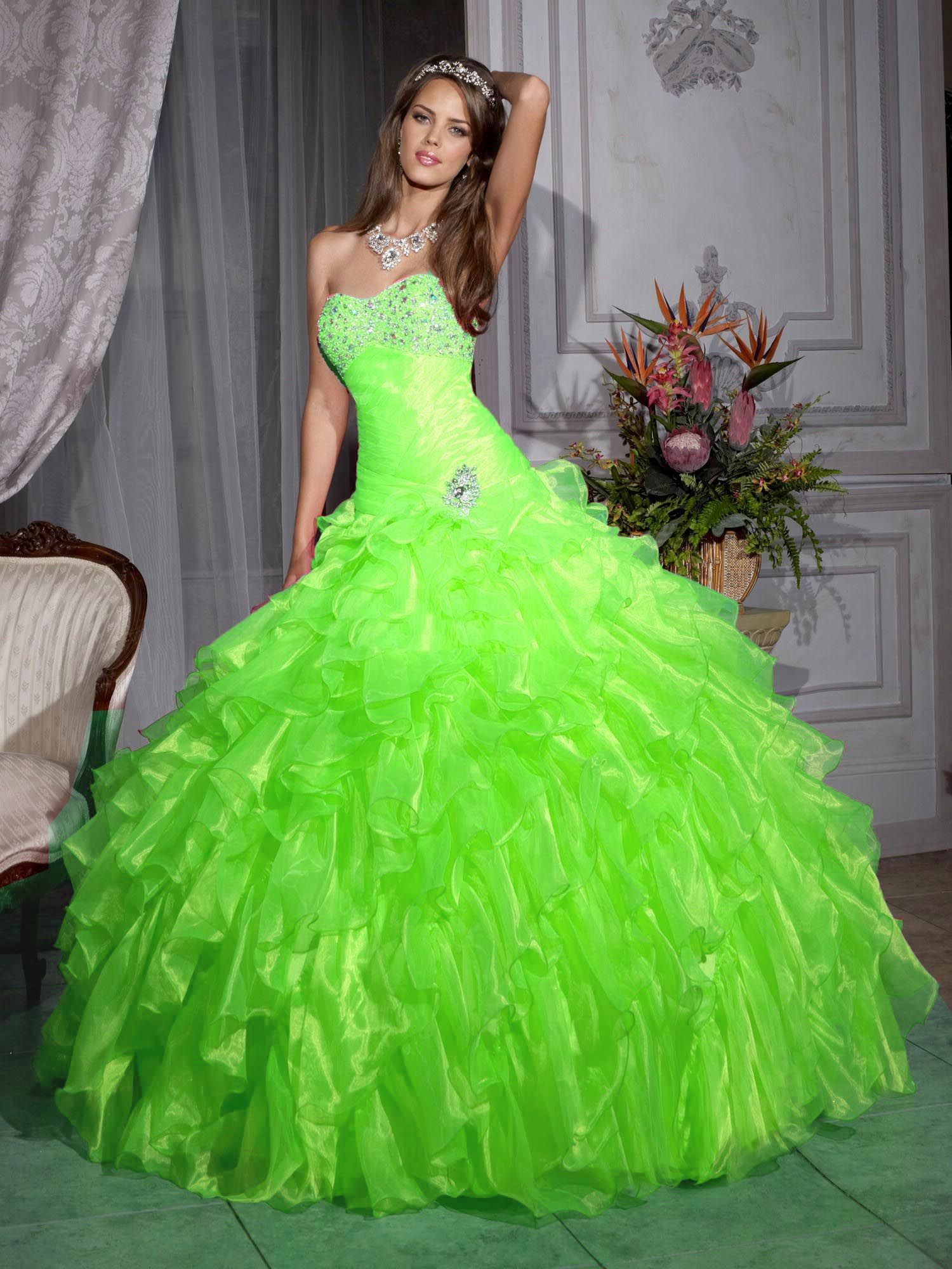 Lime green ballgown prom dresses ball gown sweetheartneck