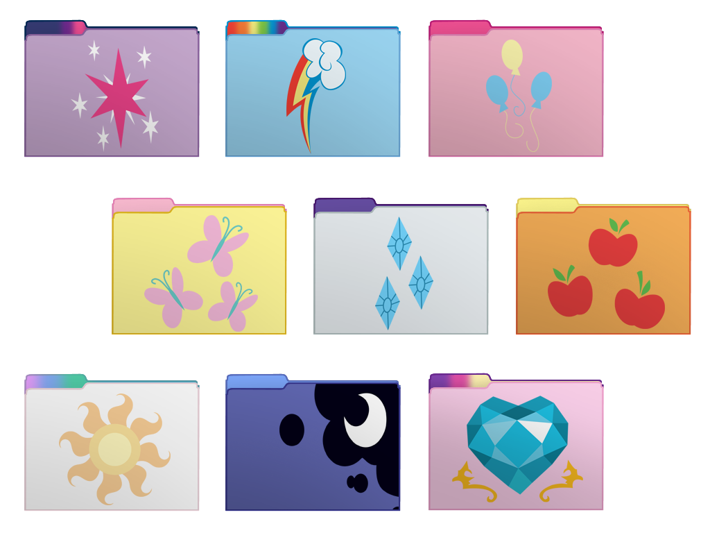 My Little Pony FIM Set 1 Computer Folder Icons by