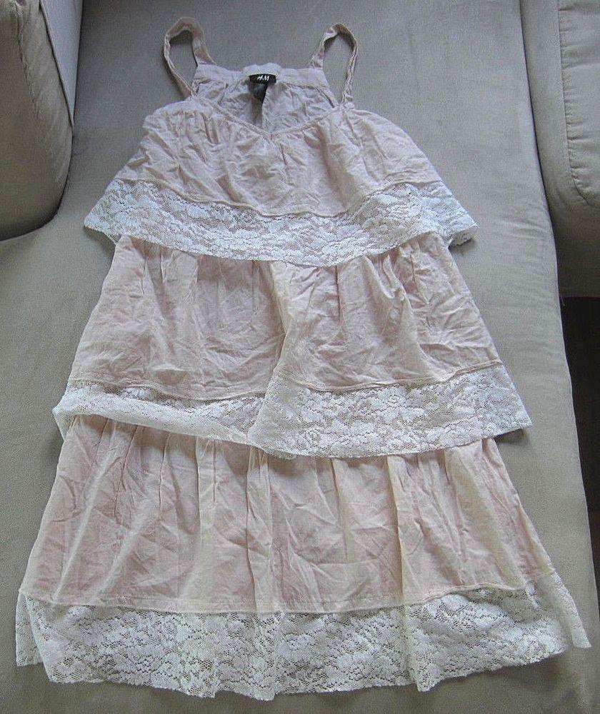 H&M Kleid kurz , rosa/weiß , Gr.36 , Spitze und Rüschen ...
