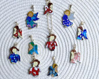 Cloisonné enamel Necklace - Little Angels, Sterling silver, Gift for her, Present for child