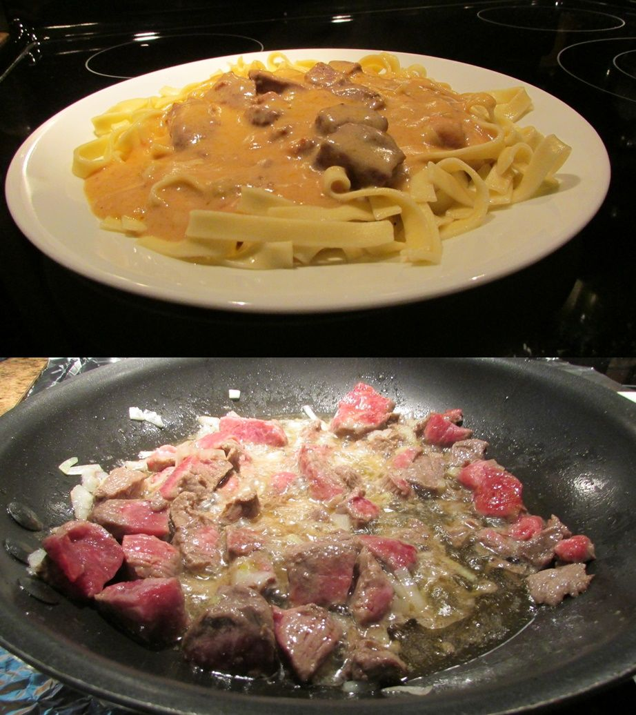 """beef tips over egg noodles. a great """"away from the kitchen"""
