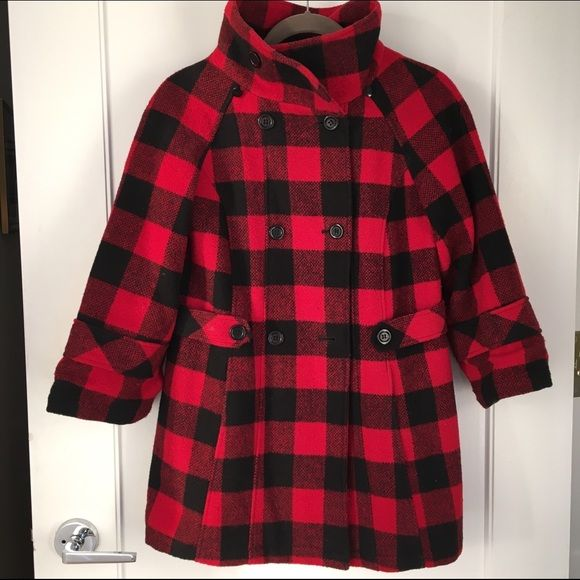 Buffalo Check Button-Up Wool Coat Cozy and Chic Buffalo Check Coat Pins & Needles Jackets & Coats Pea Coats