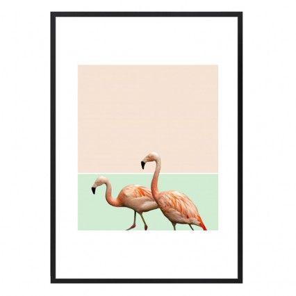Flamingo Pastel Art Framed Print - modern art print - 83 Oranges