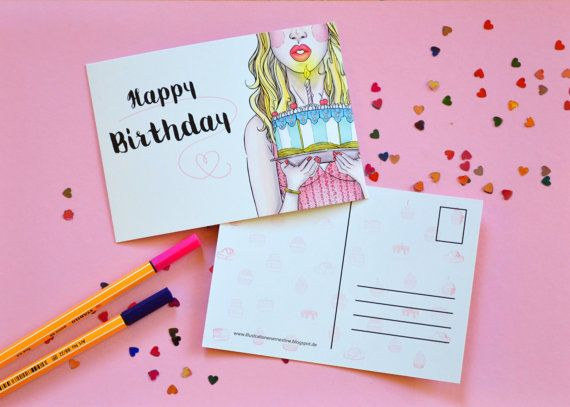 Happy Birthday Postcard von ShopErnestine auf Etsy