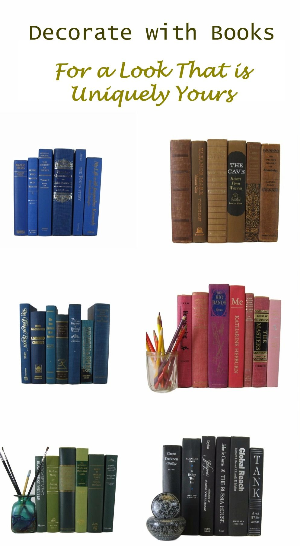 Decorative book sets create a home decor style that is uniquely