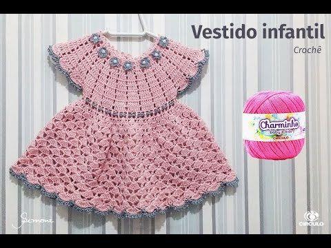 Vestido de Crochê para bebê pala redonda passo a passo professora Simone. 3af7cdb70047