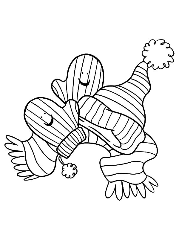 Mittens And Winter Atributes Coloring Pages Color Luna