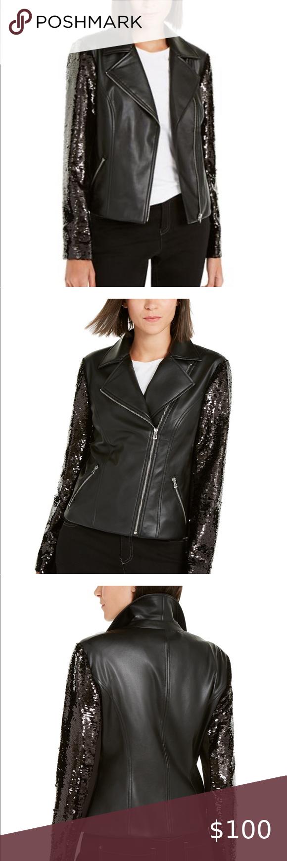 I N C Faux Leather Moto Jacket W Sequined Sleeves Faux Leather Moto Jacket White Leather Jacket Floral Knit Dress [ 1740 x 580 Pixel ]