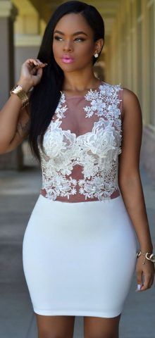 Women Club Mini Floral Short White Lace Dress california ...
