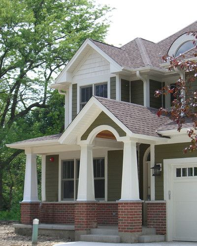 Olive Green White Red Brick Exterior House Colors