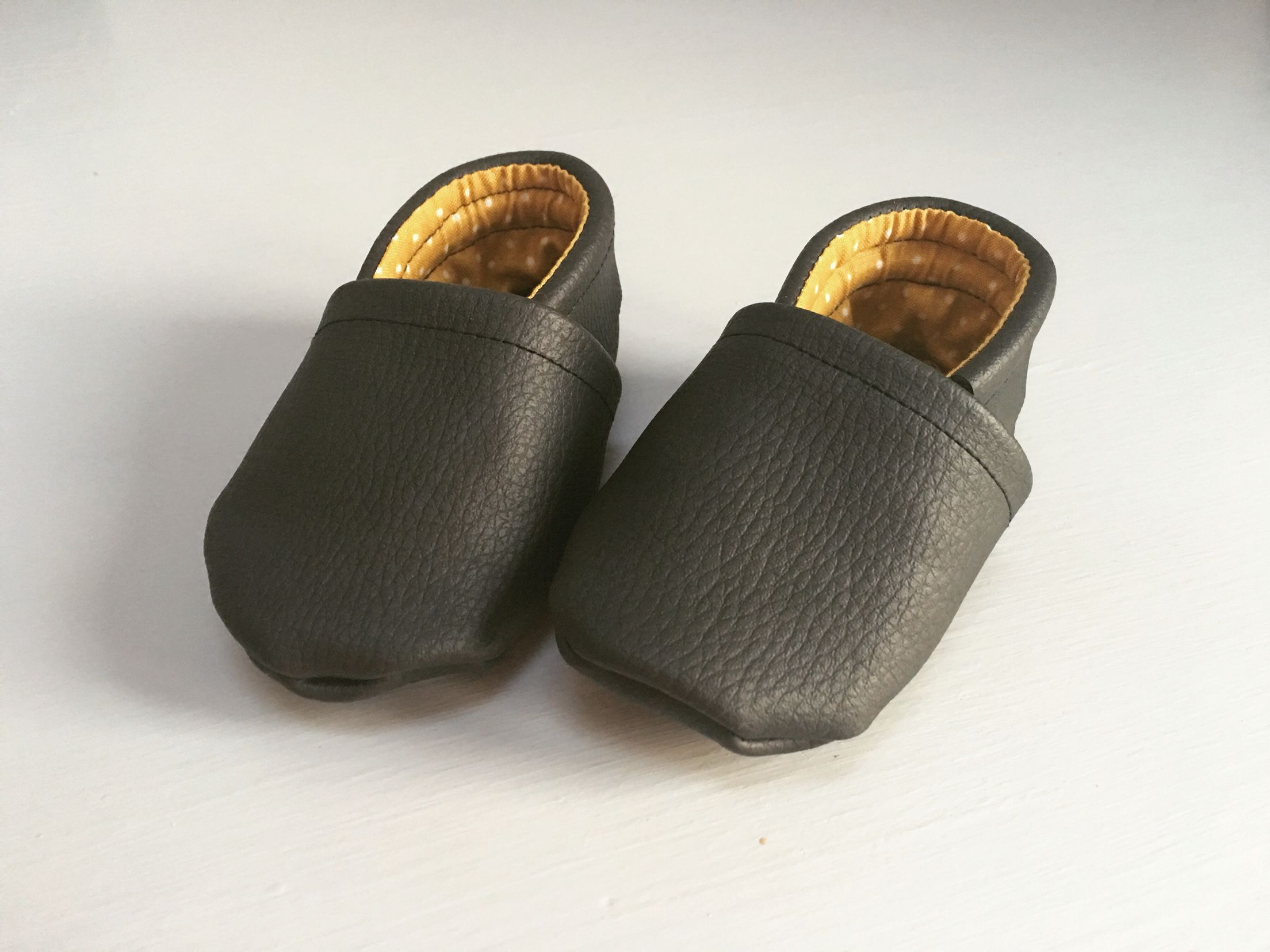 Handmade Baby shoes black brown loafers black brown slippers