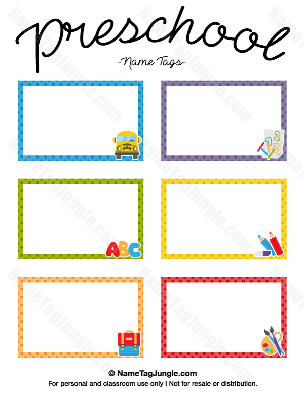 Free printable preschool name tags the template can also be used for creating items like labels for Name tag template free printable