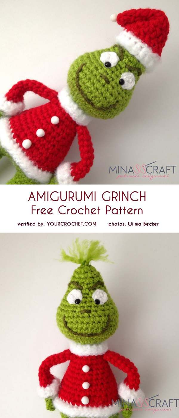 Handmade Amigurumi Crochet The Grinch Who Stole Christmas Holiday Dr Seuss plush