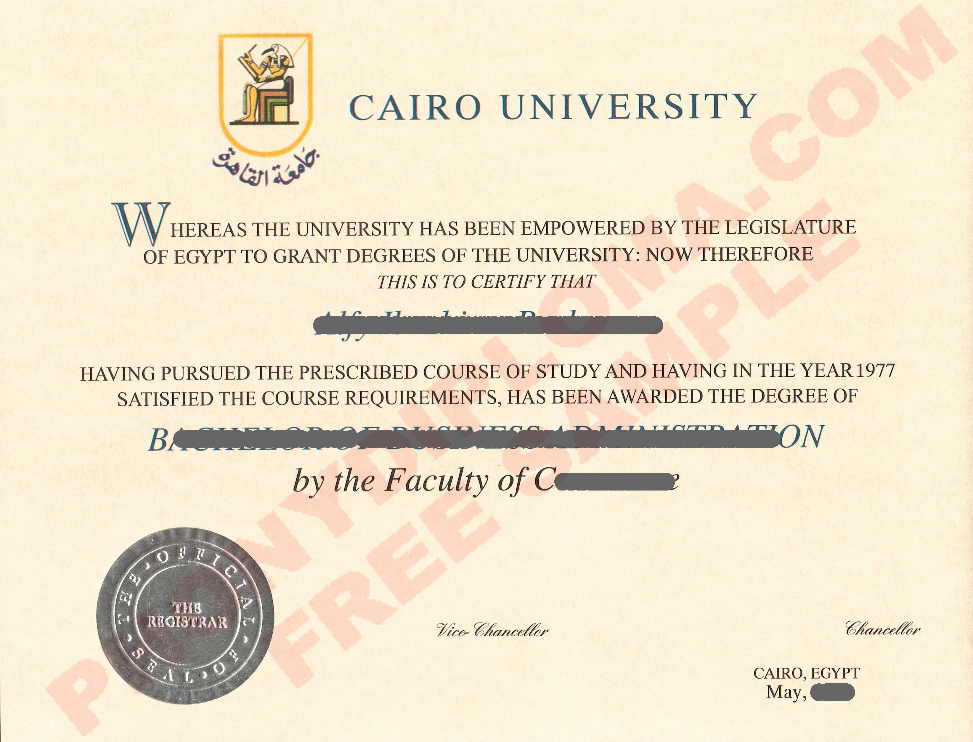 Institute For Arabic Studies Egypt Fake Transcript Sample From