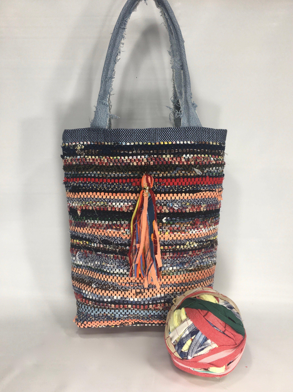 Shabby Chic Handwoven Rag Bag/ BOHO Purse/Colorful Rag Rug