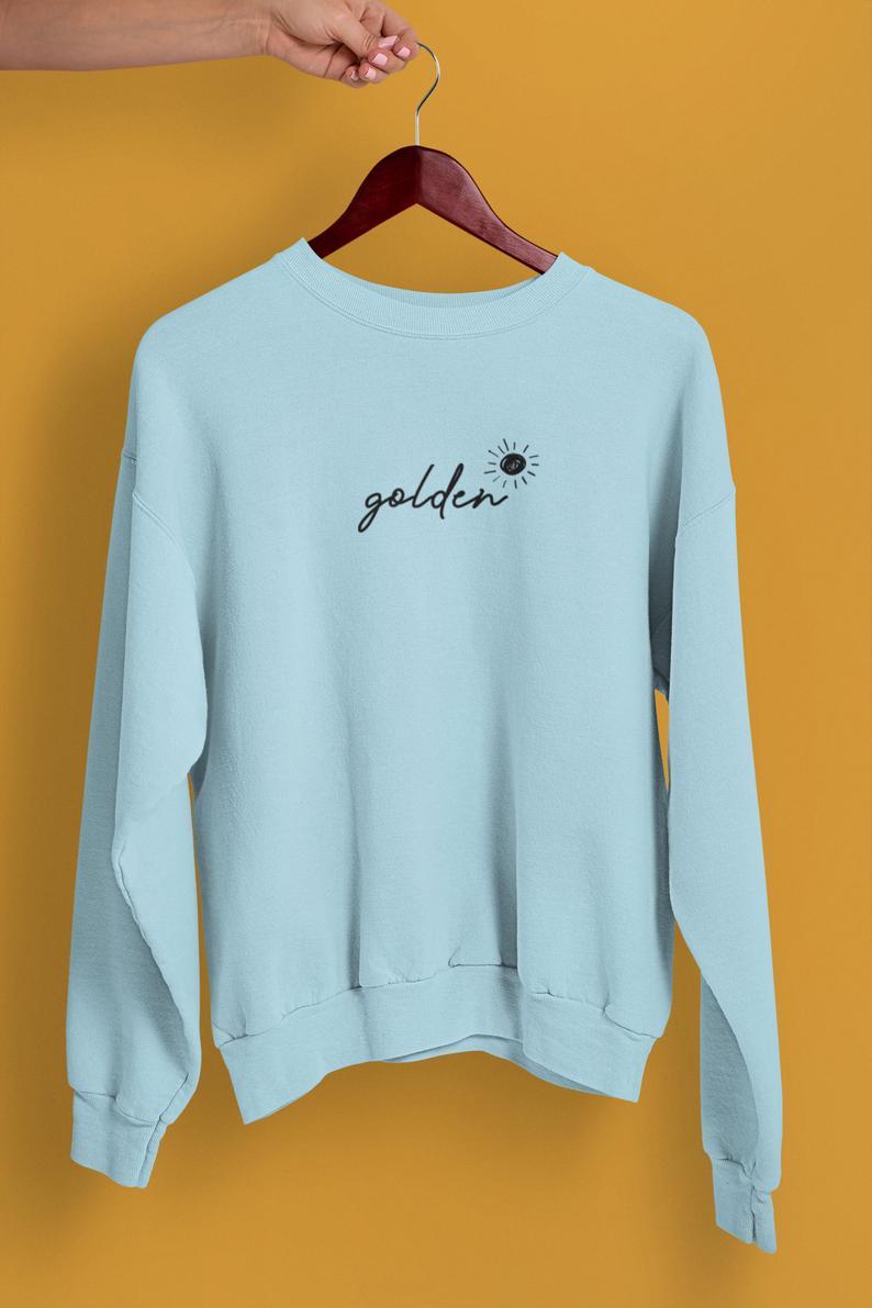 Golden Sweatshirt Light Blue Golden Crewneck Sweatshirt Etsy Sweatshirts Harry Styles Hoodie Sweatshirt Fashion [ 1191 x 794 Pixel ]