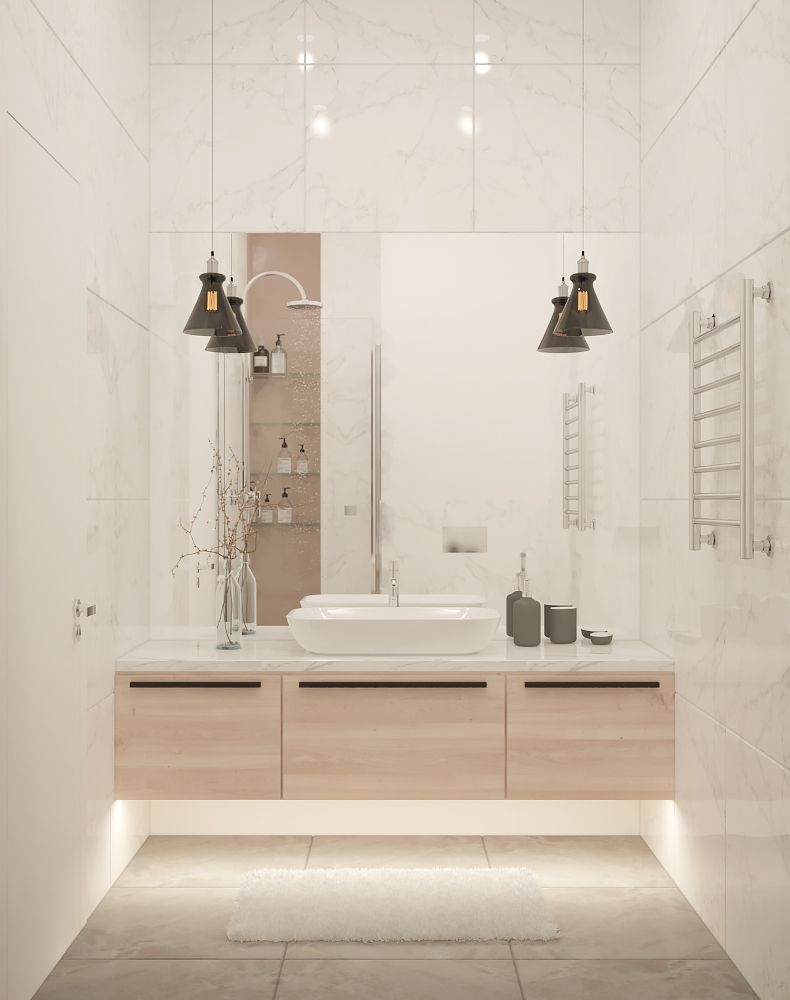 Combined Bathroom With Large Tiles On The Walls Large Mirror