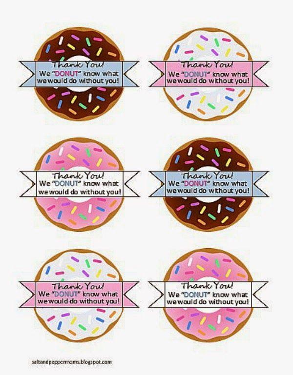 This is a graphic of Donut Teacher Appreciation Printable regarding teacher starbucks