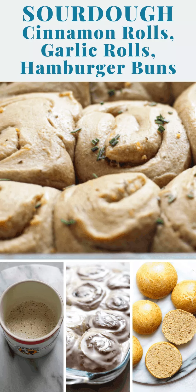 Sourdough Cinnamon Rolls, Garlic Rolls, Hamburger Buns   1 Brioche Recipe 3 ways - Bessie Bakes
