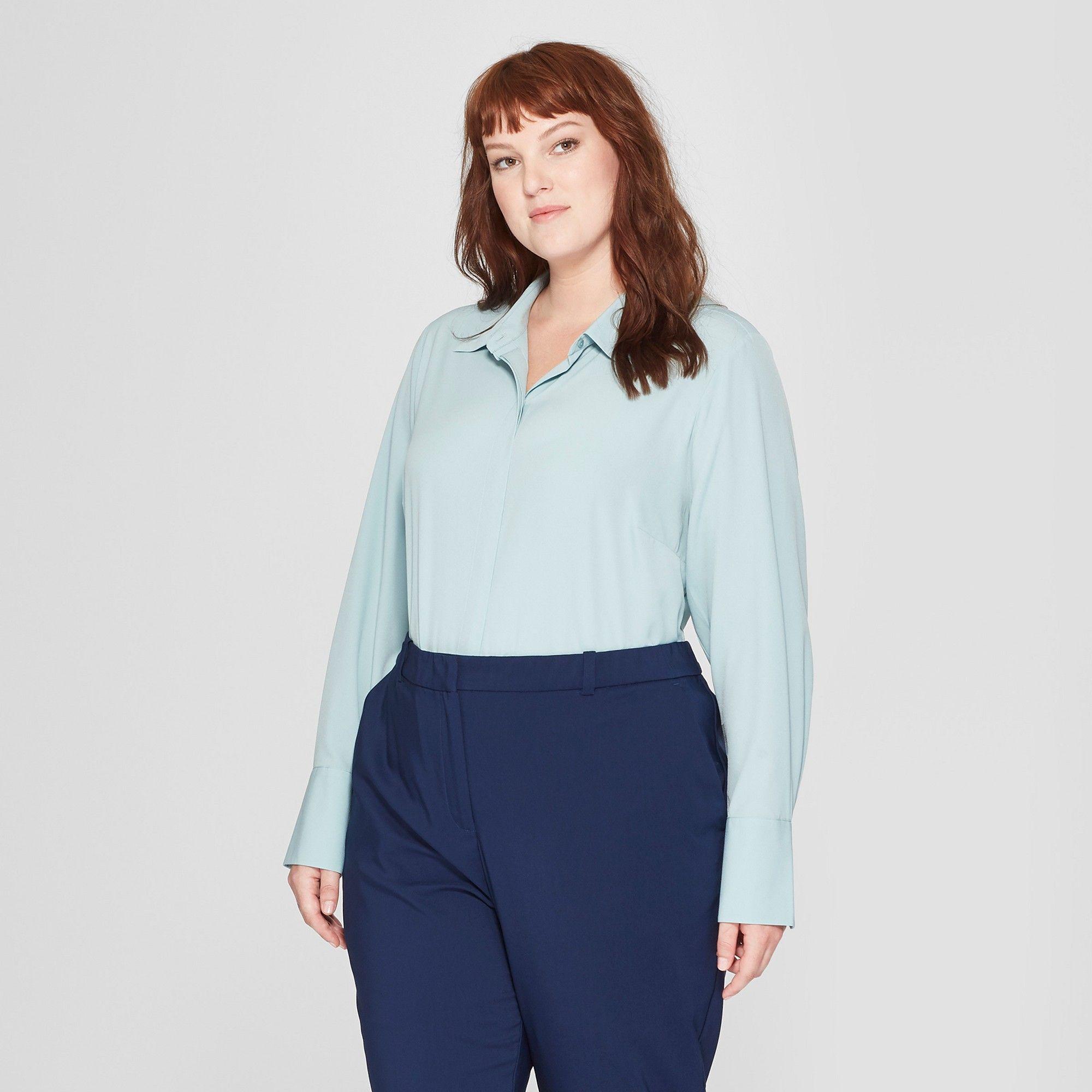 ead5a75df Women's Plus Size Long Sleeve Collared Button-Down Blouse - Prologue Blue 2X