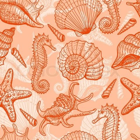 Coral+antique+cars+and+trucks   ... seamless pattern Original hand drawn illustration in vintage style