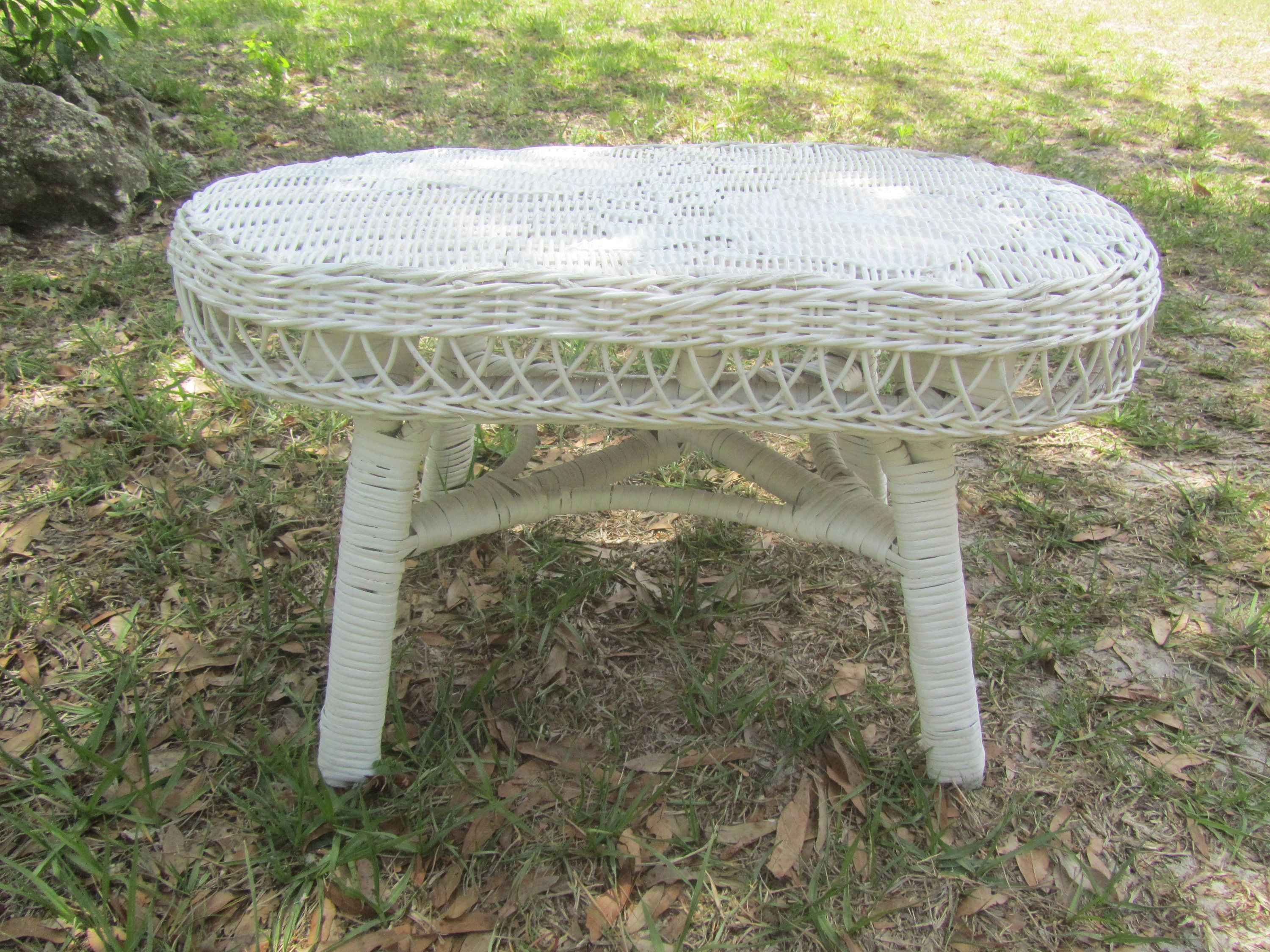 stunning White Wicker Footstools Part - 6: Vintage wicker footstool, white wicker, foot stool, vintage wicker stool,  furniture, ottoman by KarensChicNShabby on Etsy