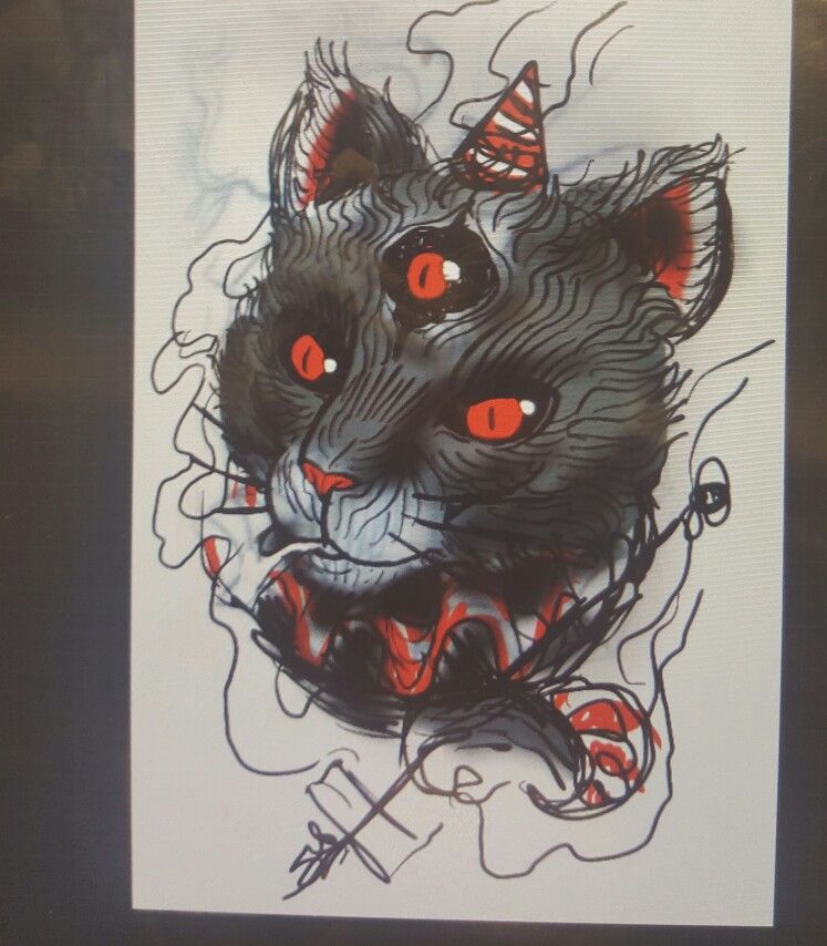 Cover up concept, smoking clown cat
