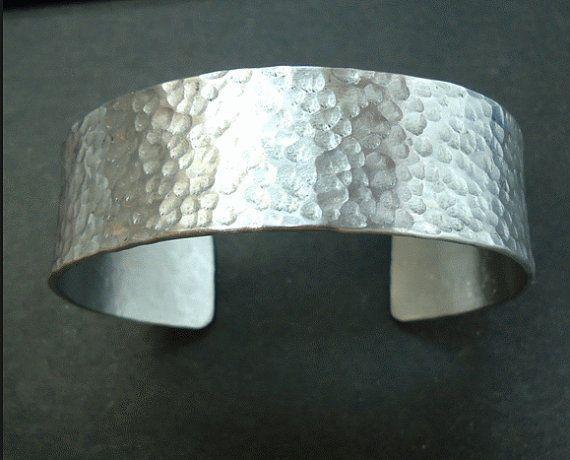 Wide Sterling Silver Hammered Cuff Bracelet Handmade