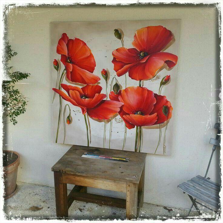 Wunderschone Mohnblumen Mohn Malerei Blumen Malen Mohnblumen Kunst