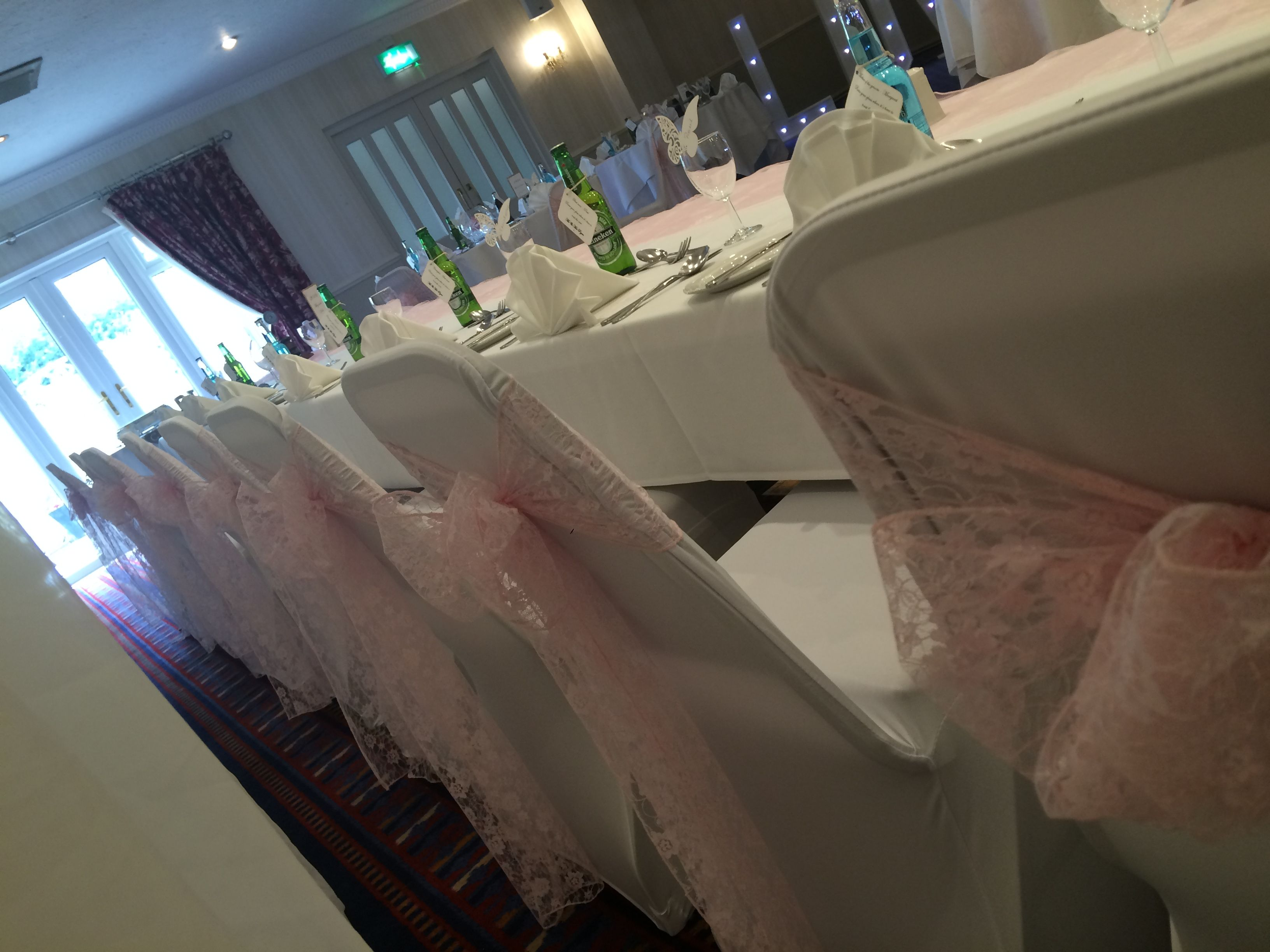 Wedding Chair Covers Pontypridd Gaming Office Depot Pink Lace Sashes And White Dressed By Affinity Event Decorators