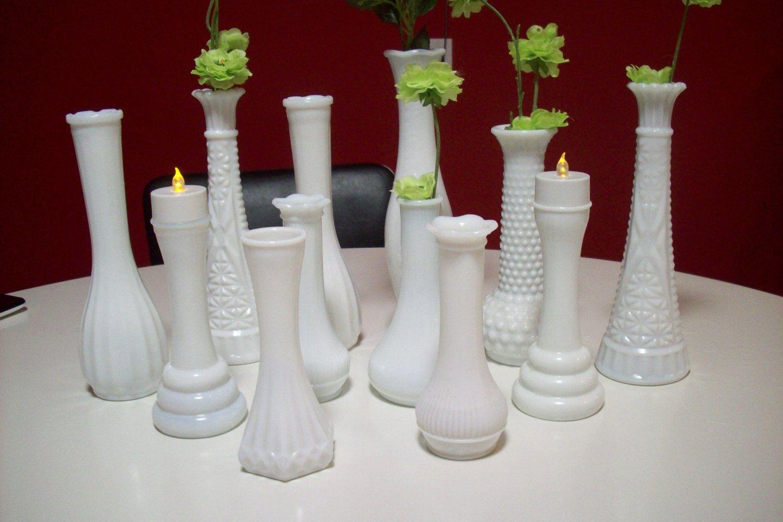 White Milk Glass Bud Vases/ Vintage Wedding Centerpiece