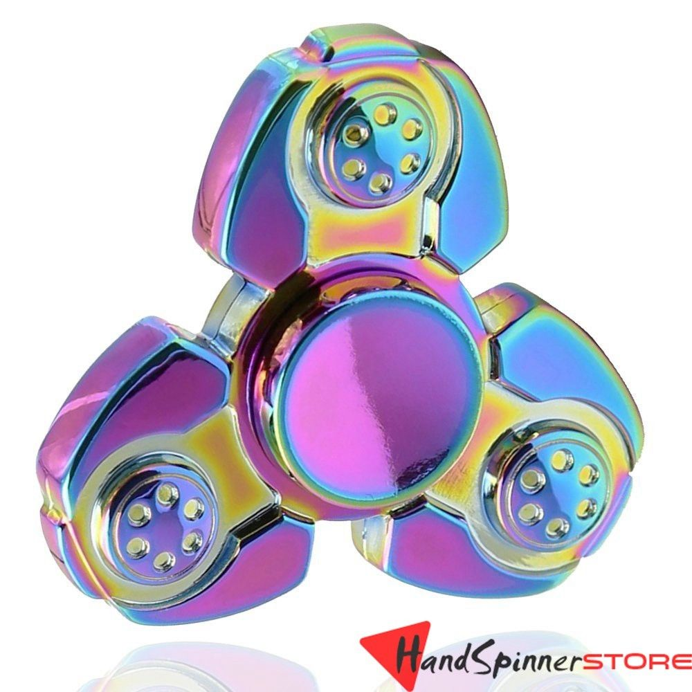 USA Rainbow Tri-Spinner Fidget Spinners EDC Figet Hand Anxiety Focus Toy ADHD