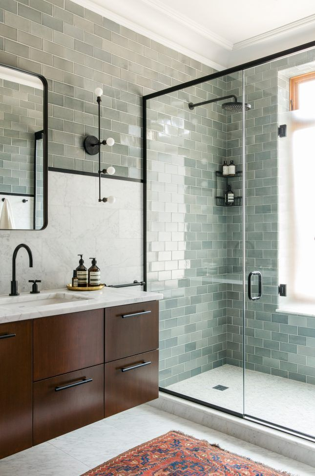 Calm Modern Bathroom Seafoam Green Tile Marble Wood Black Fixtures