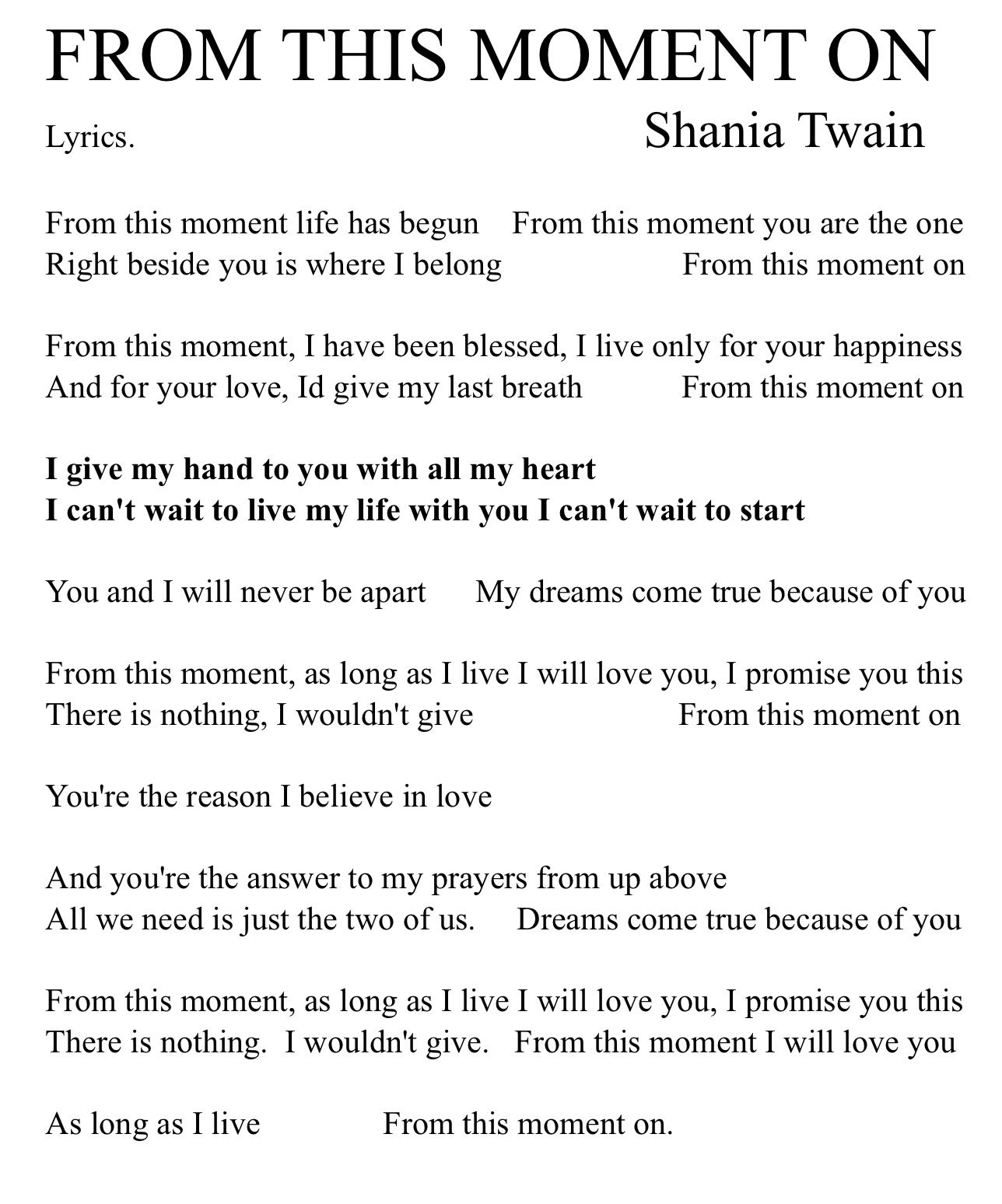 FROM THIS MOMENT ON. Lyrics. Shania Twain.