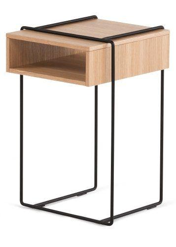 Black Metal Bedside Tables: The Clifford Bedside Table In Oak And Black. Solid Oak