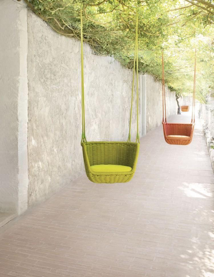 Adagio Hängesessel in grün und orange von Paola Lenti gartenhaus - designer hangesessel mit gestell