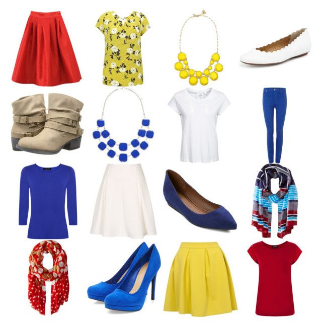 """""""Red, blue, yellow capsule"""" by krista-knudsen ❤ liked on Polyvore featuring Closet, Hudson Jeans, M&Co, Warehouse, Cheap Monday, Jaeger, Neiman Marcus, Vince Camuto, Forever New and Merona"""
