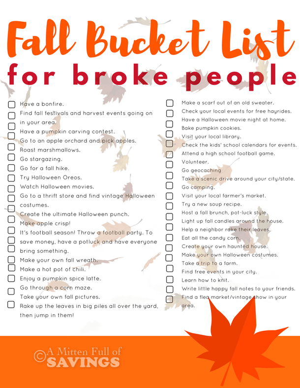 Fall Bucket List Ideas For Broke People #fallseason