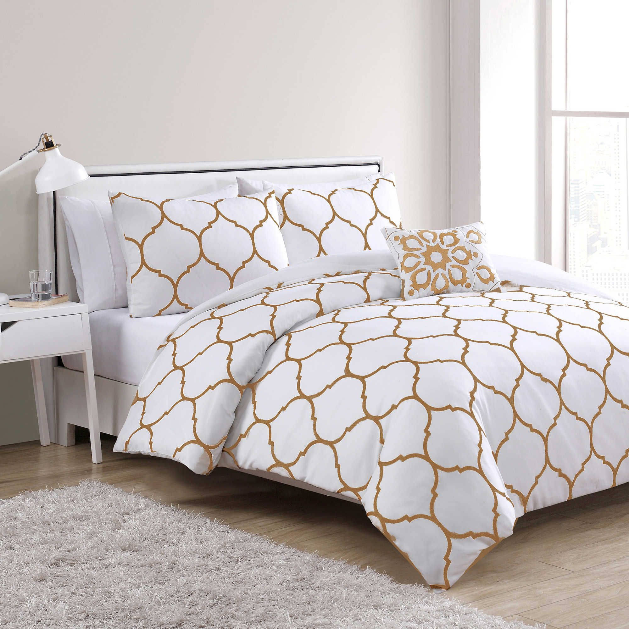vcny ogee 4 piece full queen comforter set in gold white apartment bedroom ideas in 2019. Black Bedroom Furniture Sets. Home Design Ideas