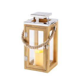 regular wooden battery led candle lantern with rope handle candle