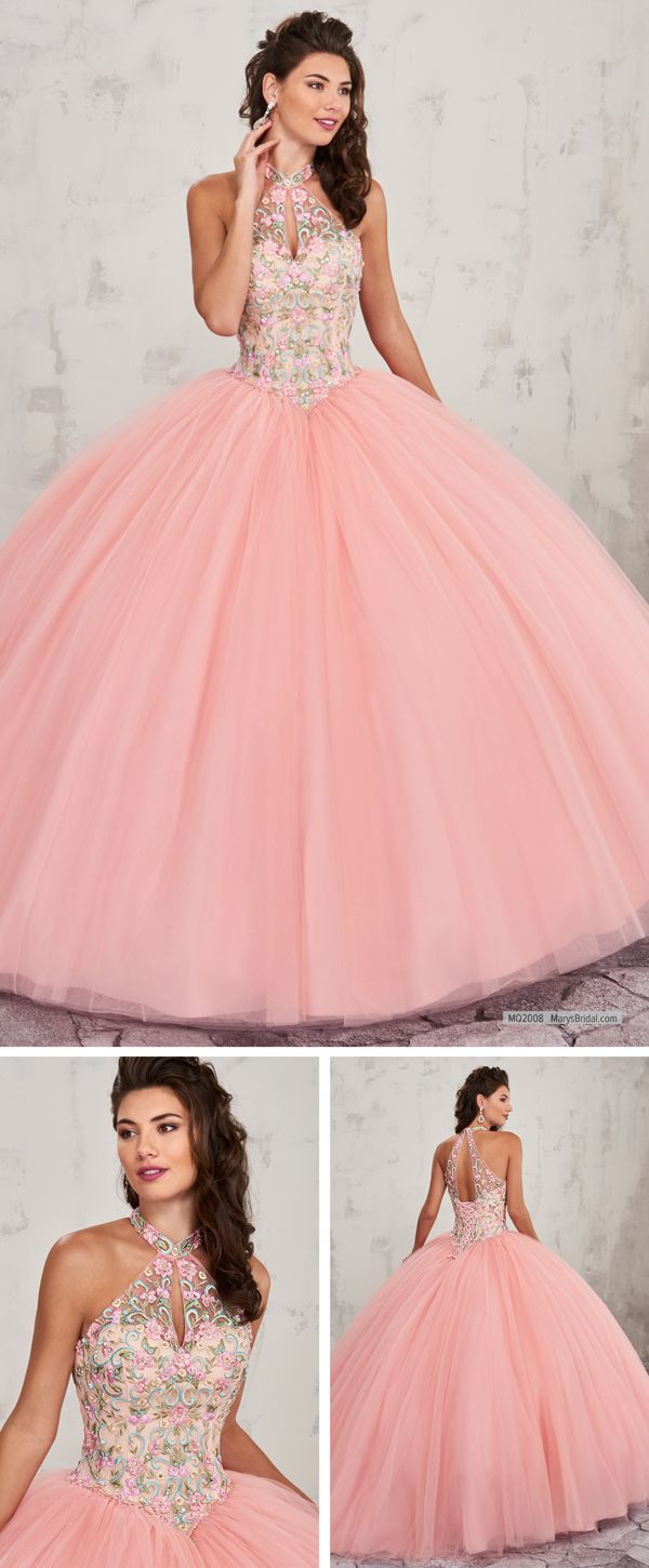 MQ2008 Tulle quinceanera ball gown features hatler bodice with ...