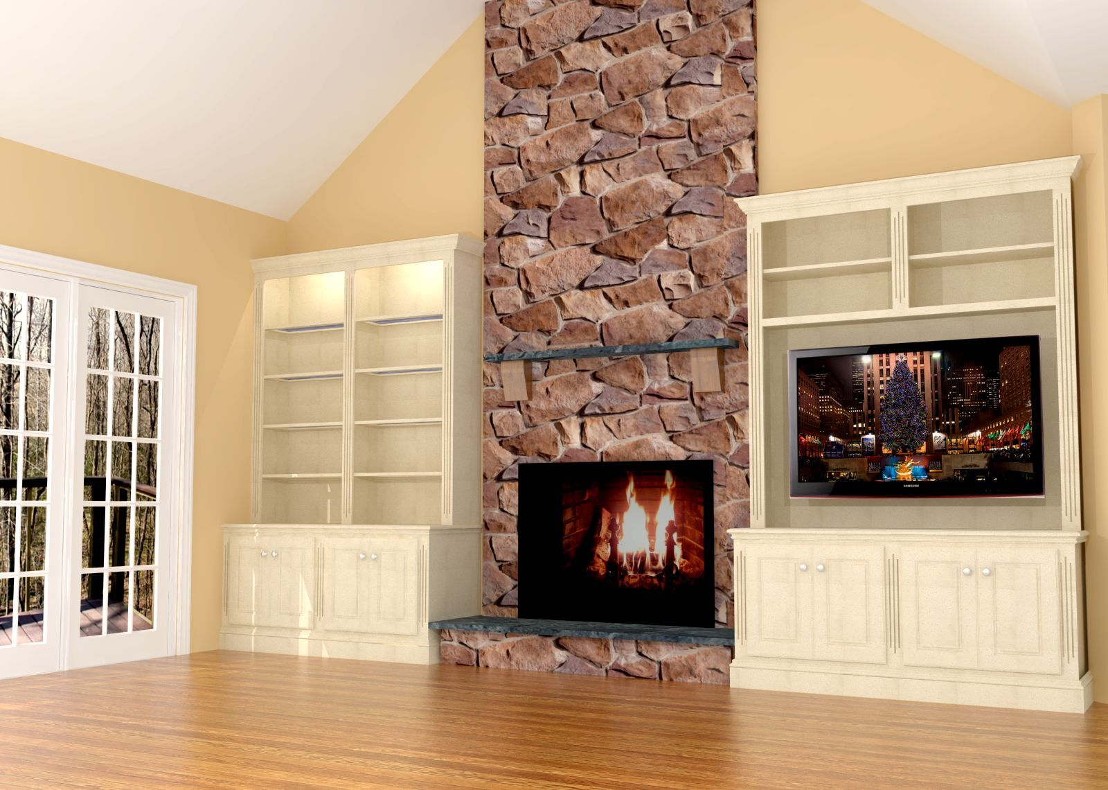 Fireplace wall built-ins w/LED TV | Fireplace wall, Built ins and ...