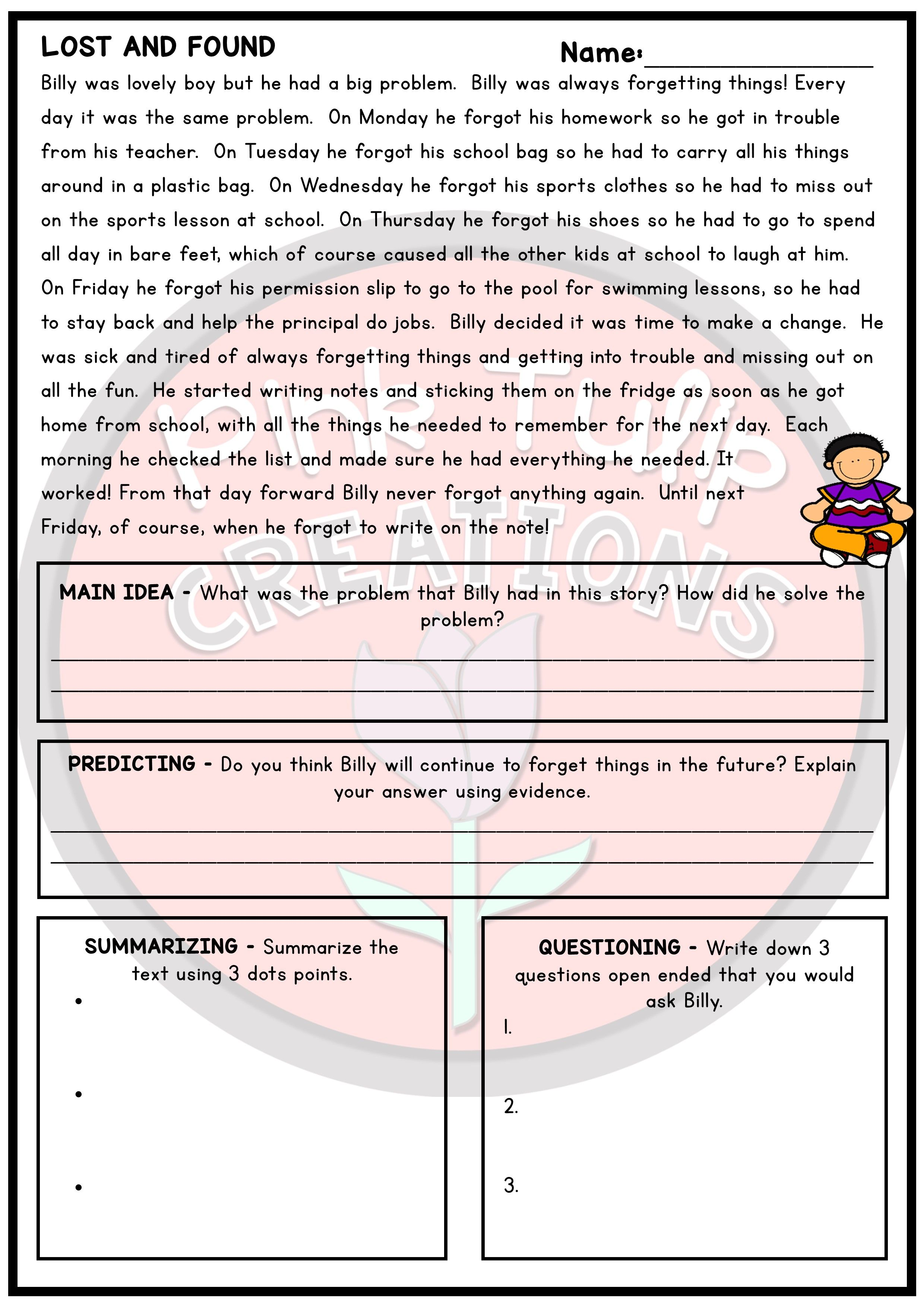 30 Page Reading Strategy Comprehension Pack Reading Strategies