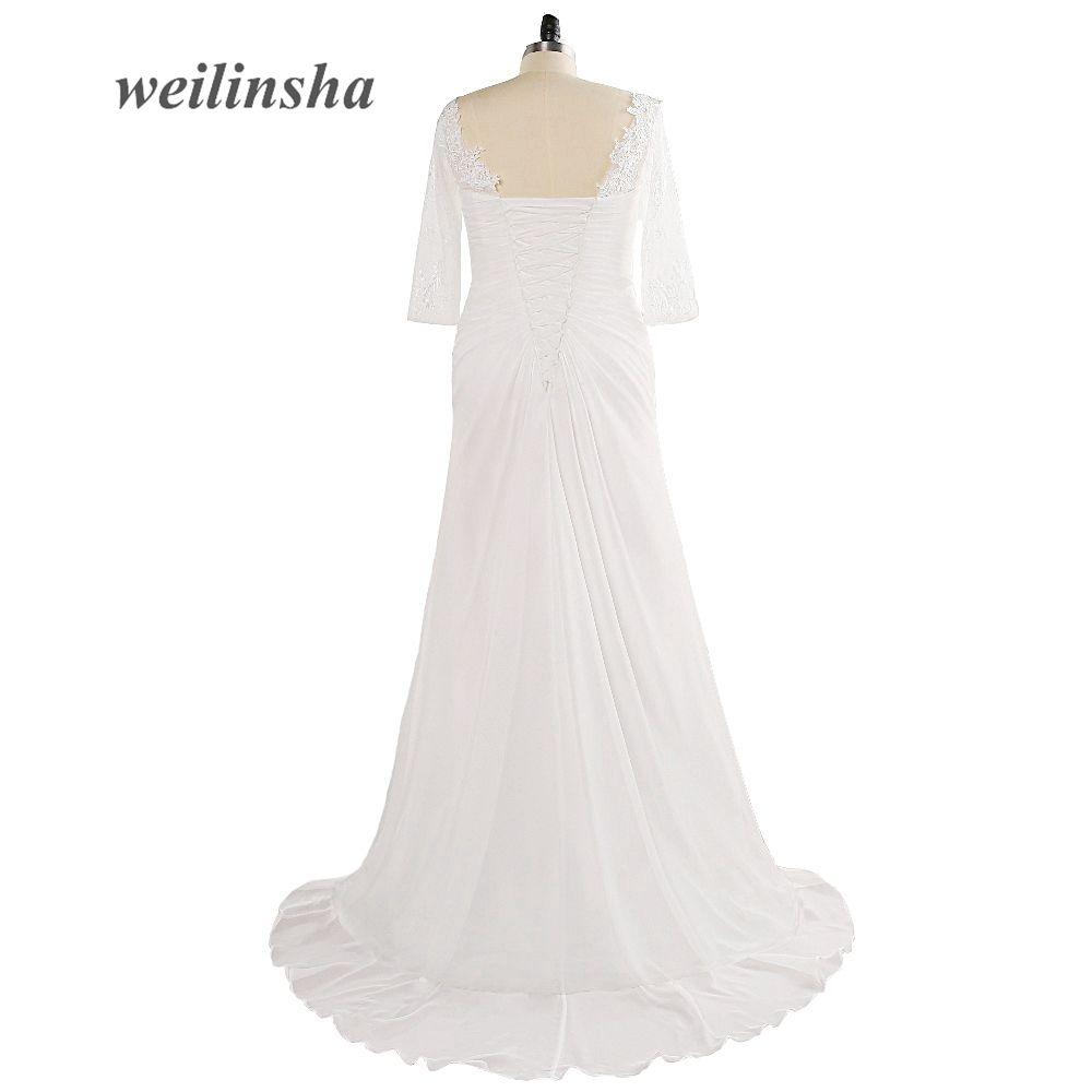 Weilinsha new elegant fashion plus size wedding dresses deep v