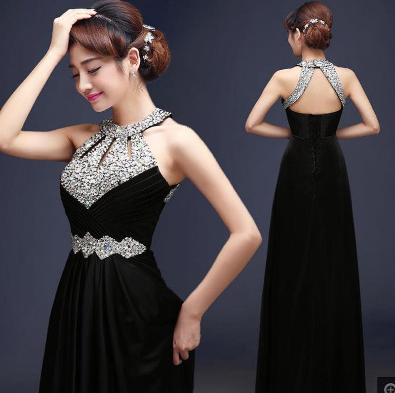 Free Shipping Floor Length Satin Sexy Formal Evening Dresses Prom